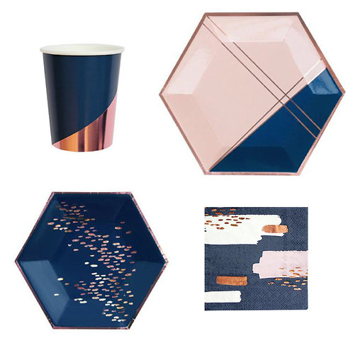 Dark Blue Elegant Paper Plates, Cups, table napkins and party needs
