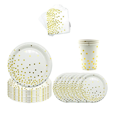 White Dots - Elegant Paper Plates, Cups, table napkins and party needs