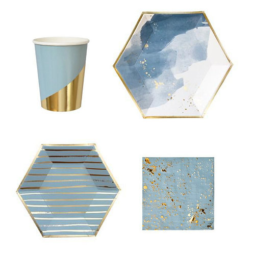 Elegant Paper Plates, Cups, table napkins and party needs Sky Blue