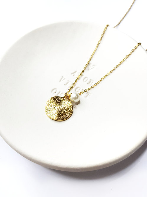 Gold Hammered Coin with  Pearl Necklace