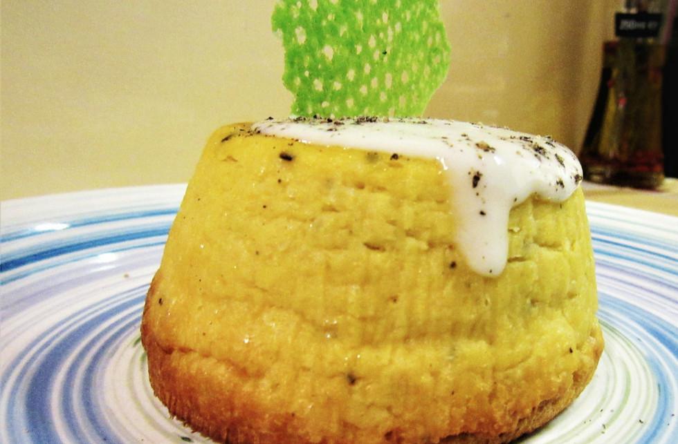 tortino di ceci crema pecorino e cialda #osteriadarbruttone
