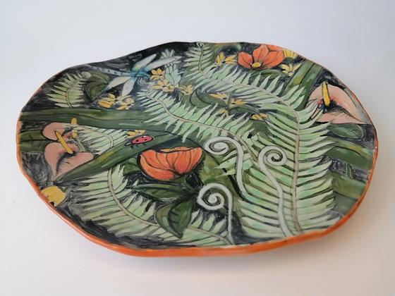 Small tropical ceramic plate