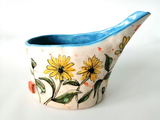 Rustic daisy milk jug - medium size