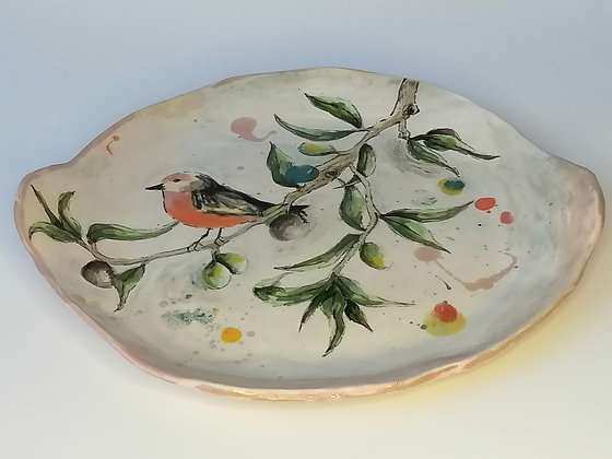 Small olive tree ceramic serving plate