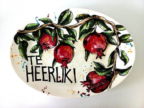 Serving platter with pomegranates