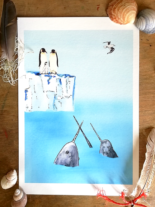 Limited Edition Print – Penguins & Narwhals