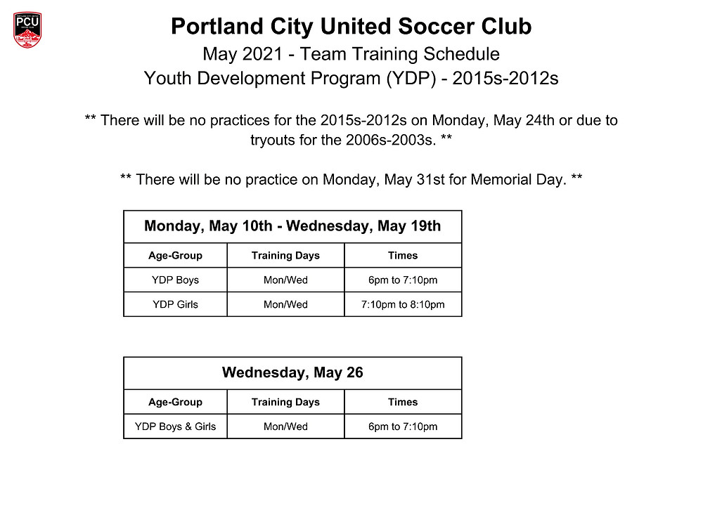YDP May 2021 Training Schedule