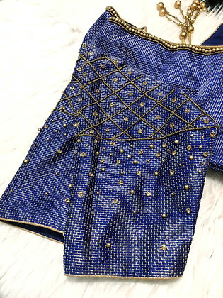 Blue bead and stone blouse