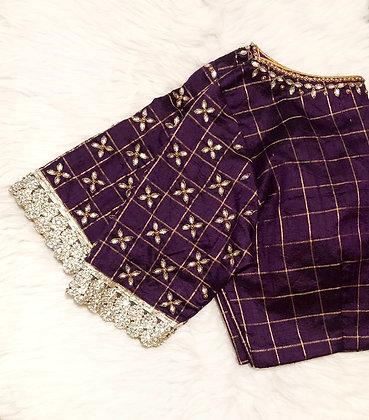 Purple Checkered Blouse