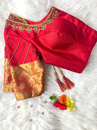 Red Silk with diagonal work