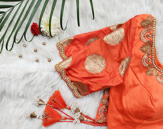 Orange Brocade Sleeve Blouse