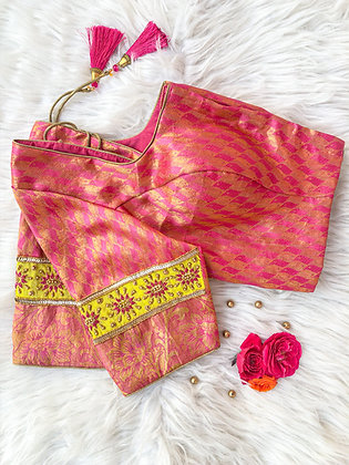Pink Brocade with Lime green Patch work blouse