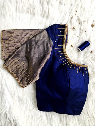 Navy blue zari sleeve blouse