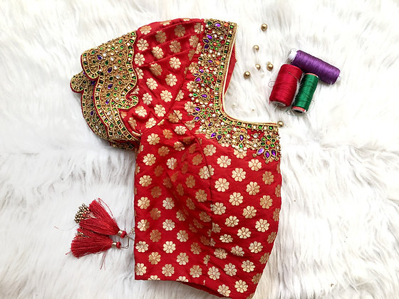 Red brocade puff sleeve blouse