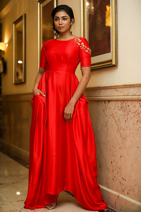 Red Modal gown with oversized pockets
