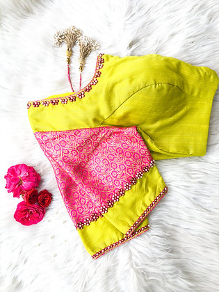 Lime Green blouse with pink brocade sleeve