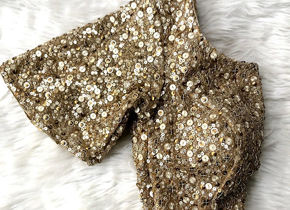 Gold allover sequin blouse