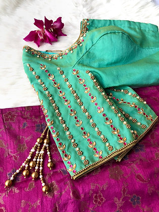 Teal pearl and kundan blouse