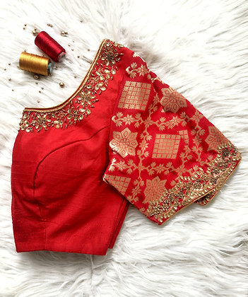 Red Brocade sleeve blouse