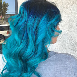 Shadow Root with Ombre Neon Blue
