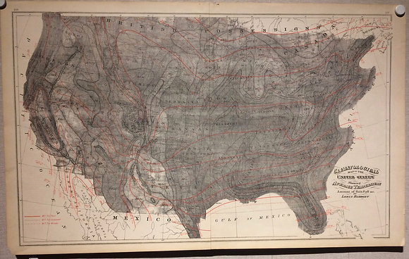 1855 Climatological map of the US by Blodget