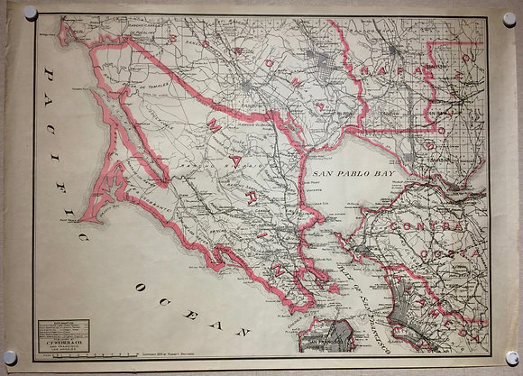 1914 Map of Marin County by CF Weber