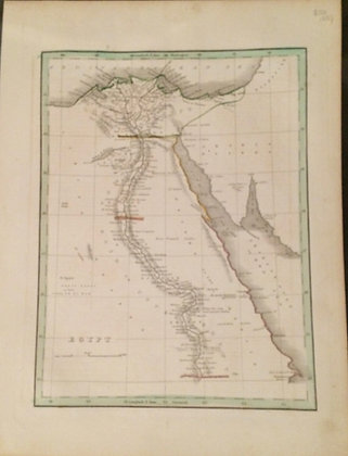 1835 Map of Egypt by Thomas Bradford in copper engraving