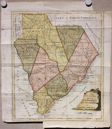 1777 South Carolina by Thomas Bowen w/ hand color
