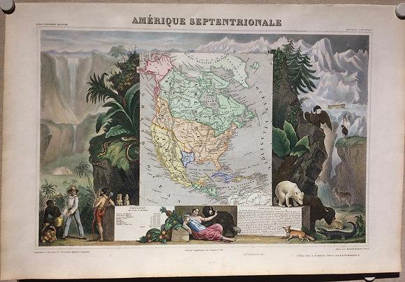 1856 (1844) North America by LaVassuer w/ hand color