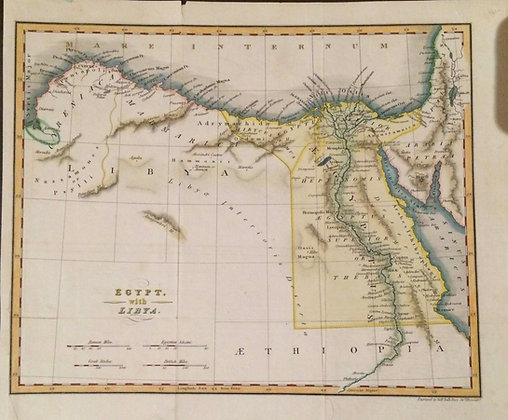 1835 Map of Egypt and Libya w/ hand color