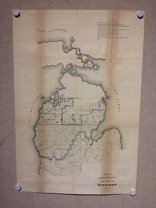 1840 GLO Public Survey of Michigan w/ hand color