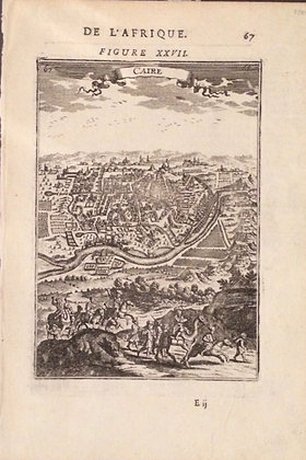 1719 map of Cairo by Mallet in copper engraving