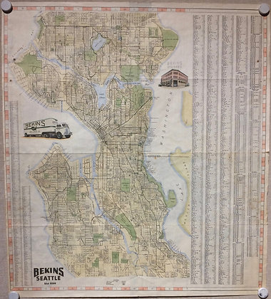 1955 Bekins Map of Seattle, Wa. w/ hand color