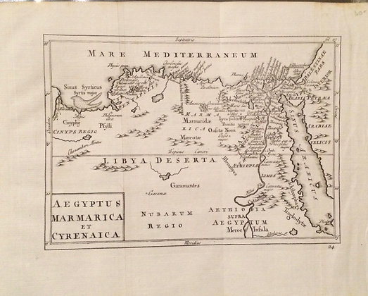 1731 map of ancient egypt, marmarica and Cyrenaica by cellarius