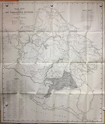 1968 Mt tamalpias Region Folding Hikers Map