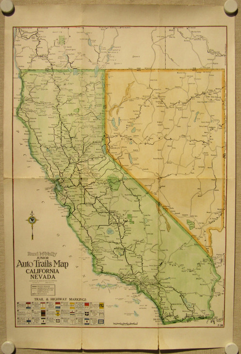 Auto Trails Map of California & Nevada, 1925 on