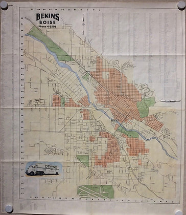 1953 Bekins Map of Boise, Id. with hand color