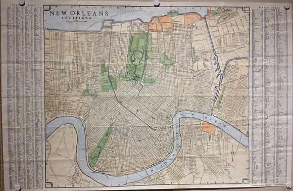 1950 Folding City map of New Orleans, LA. w/ Hand color