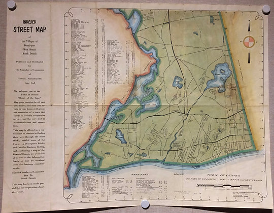 1955 Map of Dennis ,Mass. with hand color