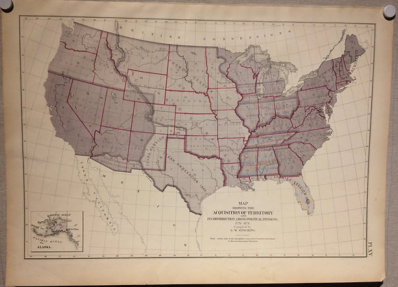 1874 Map of United States Expansion from the Francis Walker Statistic