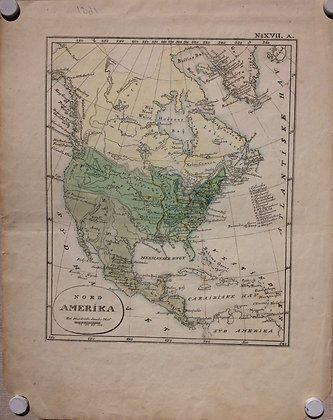 1821 Map fo North America by Unknown Danish maker