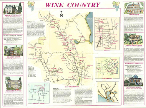 California Wine Country Map 1976 on