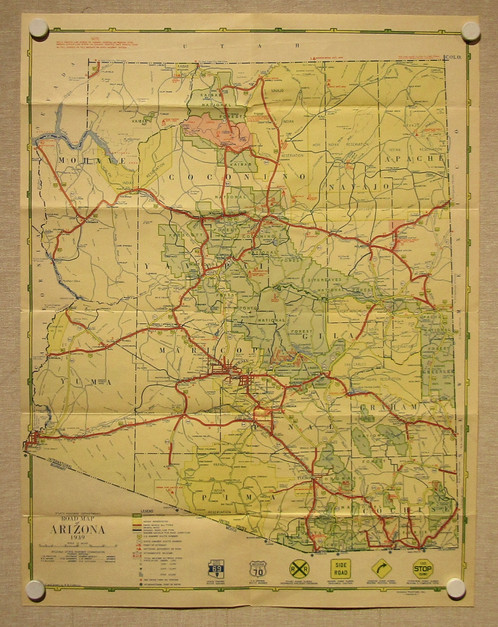 Antique Road Map Of Arizona Old Maps Schein Schein - Antique road maps