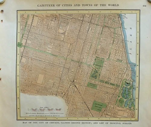 1927  Two Sheet School Map of Chicago, Il by Collins w/ HC
