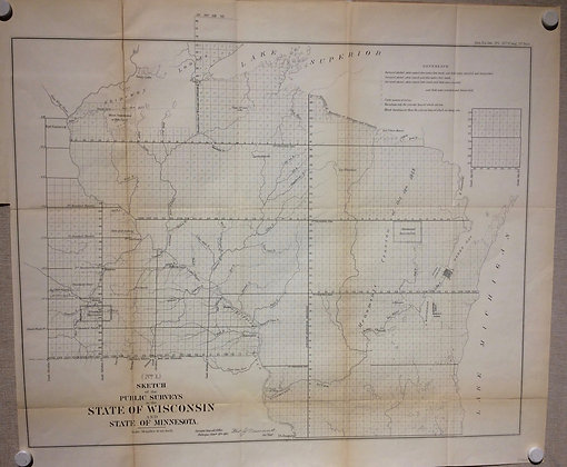 1861 GLO Map of the Public Surveys of Wisconsin and Michigan