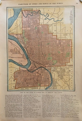 1927 School map of Kansas City, MO. & Ks. by Collins w/Hc