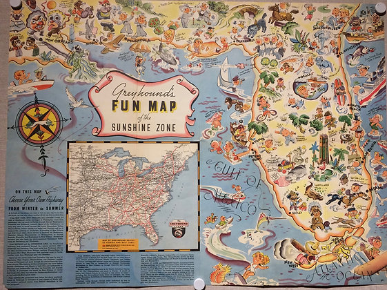 1936 Fun Map of Florida by Greyhound Bus Lines