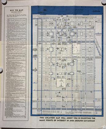 1935 Savannah, Ga Folding City Map w/ Index