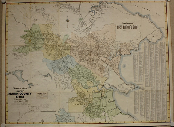 1954 Marin County Cities w/ hand color