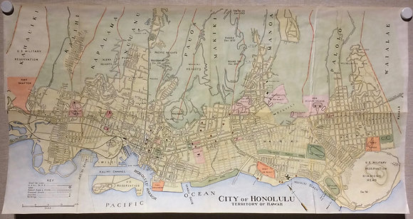 1928 Map of Honolulu, Hi with Hand Color